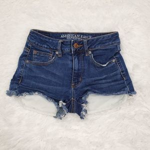 AEO Hi Rise Shortie Distressed Jean Shorts